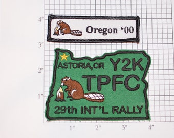 TPFC Family Campers Astoria Oregon Sew-On 2000 Y2K 29th Annual International Rally Embroidered Patch Set (2 pcs) Beaver Logo Emblem Keepsake