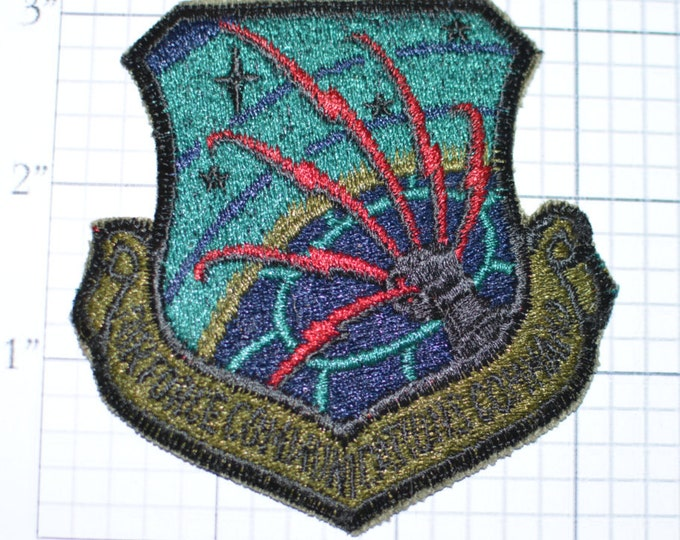 "Air Force Communications Comand (Misprint Error Missing ""m"" in Command) Subdued Sew-On Vintage Military Unit Uniform Patch, See Description"