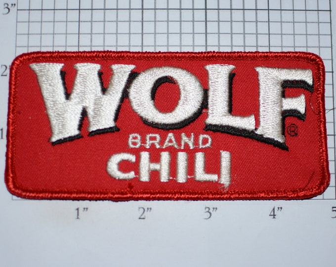 Wolf Brand Chili, RARE Vintage Sew-On Embroidered Clothing Patch for Employee Uniform Shirt Jacket Collectible Emblem Logo *Only 1 Available