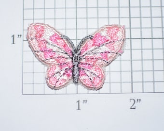 Beautiful Small Pink Fabric Butterfly Sew-On Vintage Embroidered Patch Applique for DIY Crafts Clothing Clothes Fashion Accent Decorative