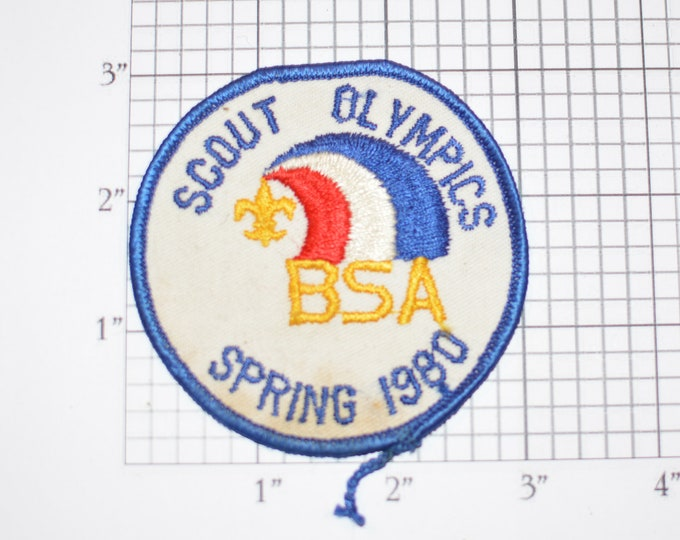 Scout Olympics Spring 1980 Embroidered Vintage Sew-on Patch (Dingy) Boy Scouts BSA Collectible Scouting Memorabilia Souvenir Keepsake Badge