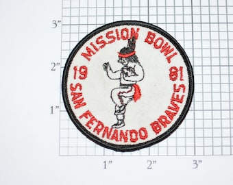 Mission Bowl San Fernando Braves 1981 Vintage Embroidered Sew-On Clothing Patch Football California Collectible Keepsake Memorabilia Memento