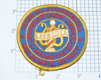 Lehigh Valley Harmonizers Mid-Atlantic District Intermediate Chorus Champions 1990 and 1992 Iron-On Vintage Embroidered Patch Music Award