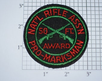 National Rifle Association Pro-Marksman 50 Foot Award (NRA) Rare Sew-on Vintage Embroidered Patch Shooting Memorabilia Keepsake Gift Idea
