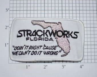 """Strackworks Florida (Gainesville) """"Doin' It Right 'Cause We Can't Do It Wrong"""" Iron-On Vintage Embroidered Patch for Employee Uniform Shirt"""