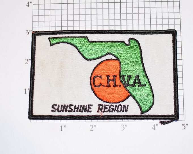 C.H.V.A. Sunshine Region Florida (Dirty / Dingy) Iron-On Vintage Embroidered Clothing Patch Emblem Logo Collectible Woven Crest