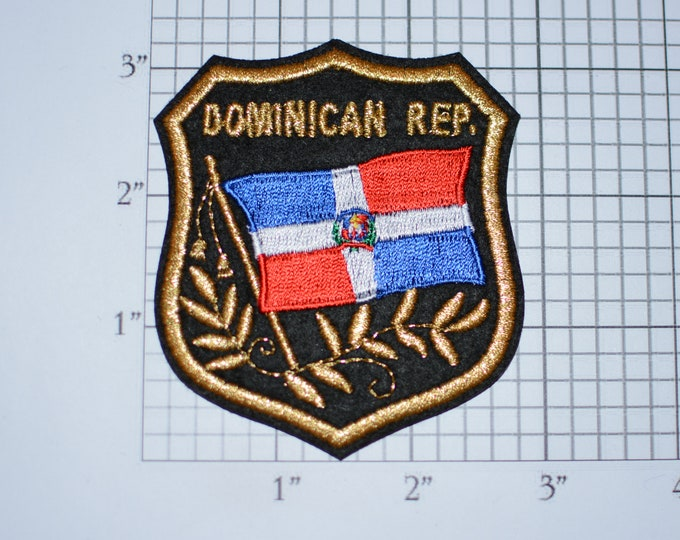 DOMINICAN REP Iron-on Embroidered Clothing Patch Flag Shield Design w/Metallic Gold Threading Beautiful Travel Trip Tourist Souvenir Memento