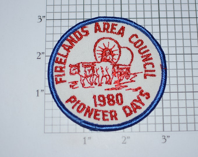 Firelands Area Council 1980 Pioneer Days Sew-On Vintage Embroidered Clothing Patch Scout Uniform BSA Emblem Logo Badge Collectible Ohio