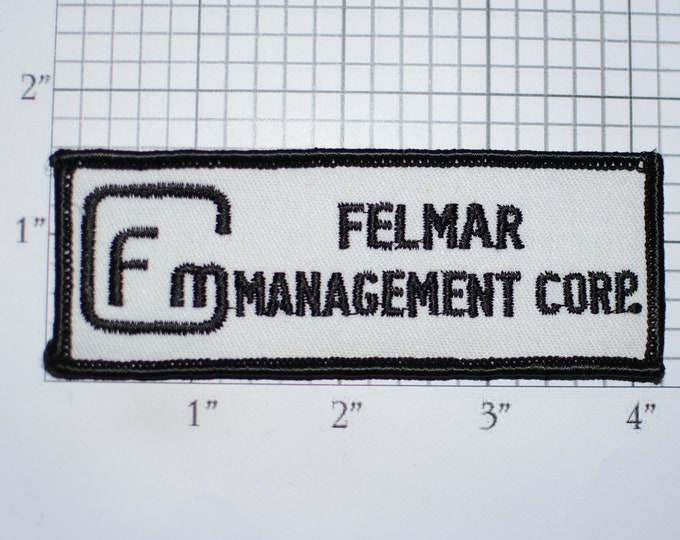 Felmar Management Corp FM Iron-On Vintage Embroidered Clothing Patch Employee Uniform Work Shirt Jacket Hat Collectible Emblem Project PM