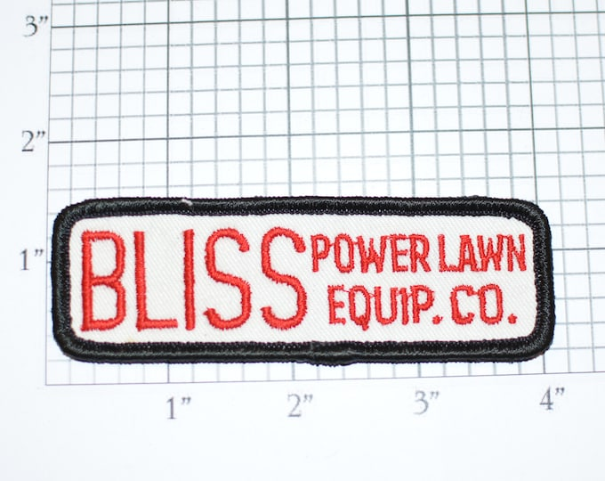 Bliss Power Lawn Equip Co Vintage Sew-on Embroidered Clothing Patch Uniform Shirt Jacket Vest Hat Insignia Logo Emblem Mowing Landscaping