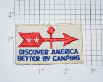 Discover America Better By Camping Sew-On 1908's Vintage Travel Souvenir Patch USA Touring Trek Keepsake Unique Badge Insignia Collectible