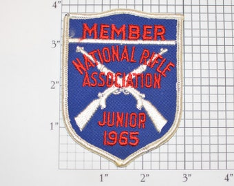 National Rifle Association (NRA) Member Junior 1965 Rare Sew-On Vintage Embroidered Clothing Patch Shooter Collectible *Only 1 Available*