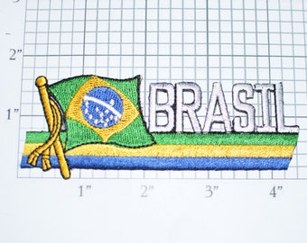 Brasil Iron-On Vintage Embroidered Travel Patch Emblem Badge Tourist Trip Souvenir Gift Idea Collectible Vacation Holiday Keepsake e25c
