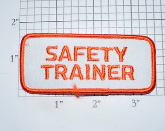 Safety Trainer Iron-on Vintage Embroidered Clothing Patch for Uniform Work Shirt Jacket Vest Industrial Project Worker Employee Instructor