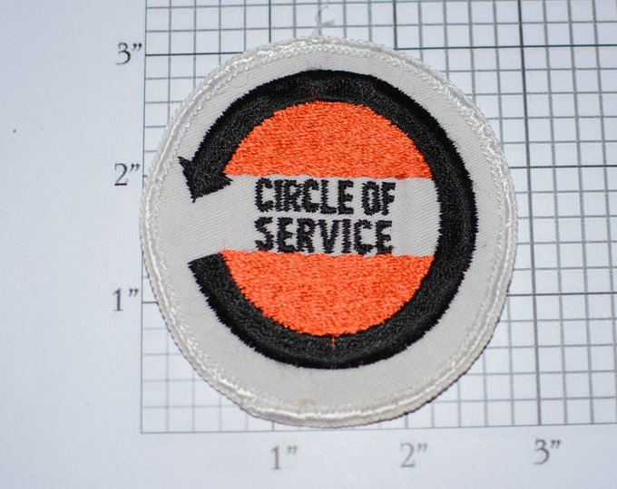Circle of Service Sew-On Vintage Embroidered Patch Emblem Logo Insignia Automotive Car Mechanic Uniform Shirt Jacket Vest Shop Tech Garage