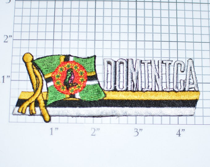 Dominica RARE Iron-On Vintage Embroidered Travel Patch Emblem Badge Flag Tourist Souvenir Gift Collectible Vacation Holiday e25d