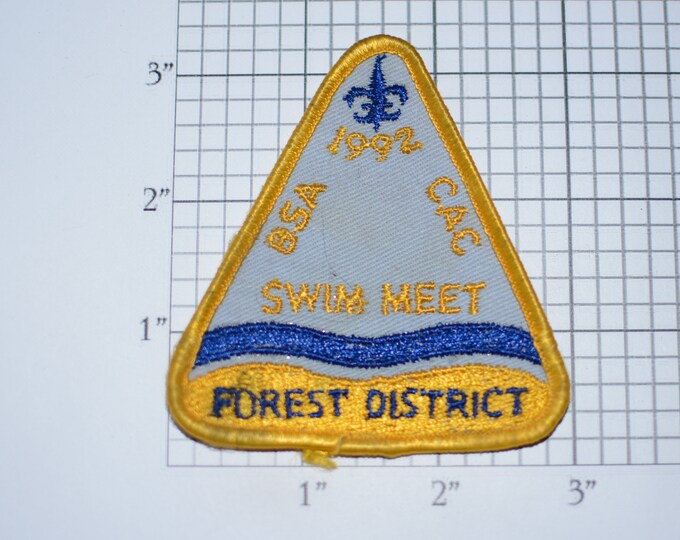 BSA Swim Meet Forest District 1992 Iron-On Vintage Embroidered Clothing Patch (Dirty/Distressed) for Uniform Shirt Badge Cub Boy Scout