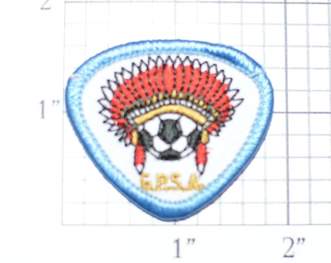 GPSA Soccer Ball Logo With Indian Headdress Vintage Iron-on Embroidered Clothing Patch Sports Award Insignia for Player Coach Jersey Shirt