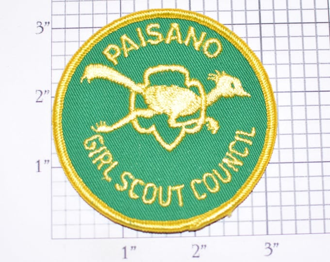 Paisano Girl Scout Council (Laredo, Texas) Vintage Sew-on Embroidered Clothing Uniform Badge Patch Emblem Logo Keepsake Souvenir Crest