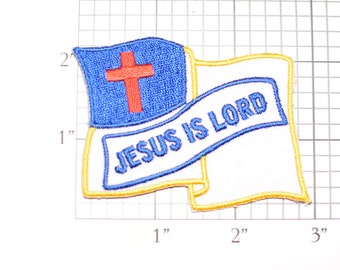Christian Flag Jesus Is Lord Iron-On Vintage Embroidered Clothing Patch DIY Project Sewing Crafts Christianity Religion Jesus Christ Faith