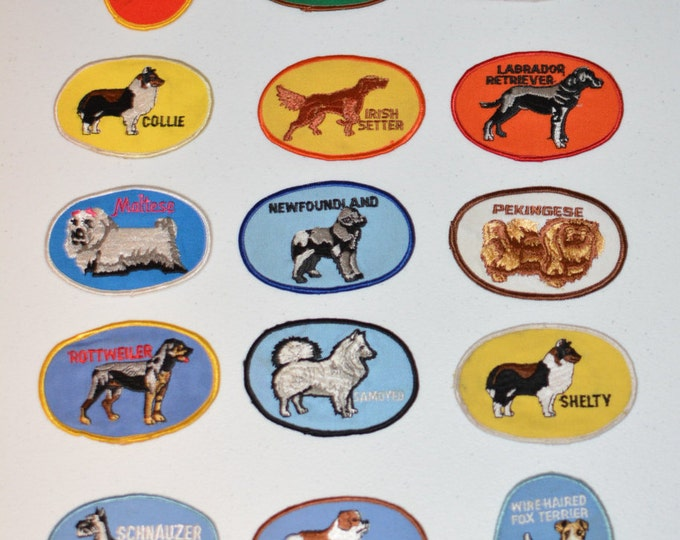 Dog Breed Patches (19 Choices), Vintage Sew-on Patch, Embroidered Patch, Dog Lover Gift, Canine Vest Patch Jacket Patch Backpack Patch Jeans