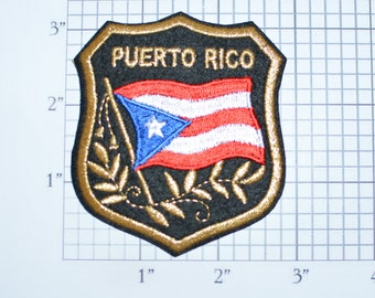 PUERTO RICO Iron-on Embroidered Clothing Patch Flag Shield Design w/Metallic Gold Threading Beautiful Travel Trip Tourist Souvenir Memento