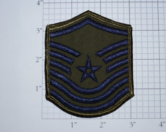 USAF Chief Master Sergeant Rank Subdued Old/Obsolete Insignia E-9 Pay Grade 1960's Vintage Embroidered Uniform Patch Emblem Military Memento