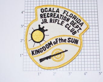 Ocala Florida Recreational Department Junior Rifle Club, Kingdom of the Sun Sew-On Vintage Embroidered Patch Firing Range Firearms Shooting