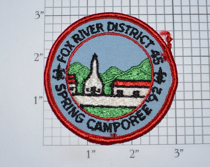 Fox River District 45 Spring Camporee 92 (1992) BSA Sew-On Vintage Embroidered Clothing Patch Uniform Shirt Jacket Boy Scout Badge Wisconsin