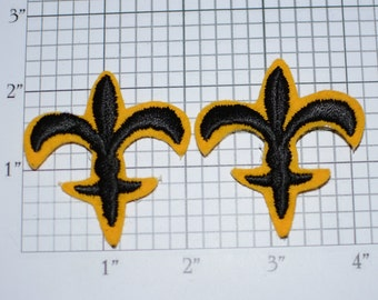 Vintage Lot (2 Pieces) Iron-on Fleur De Lis Vintage Applique Patches French Mardi Gras New Orleans Boubon Street Laissez Le Bon Temps Rouler
