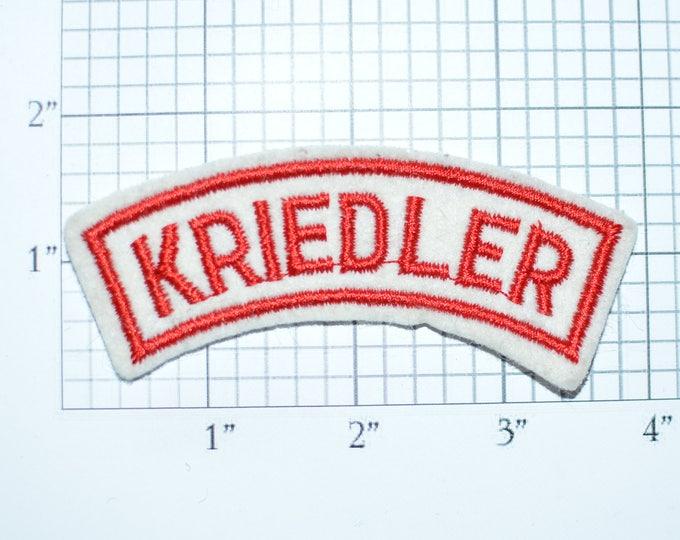 KRIEDLER Sew-On Vintage Embroidered Clothing Patch Rocker Tab Text Motorcycle Biker Jacket Vest Shirt Motorbike Name Tag Emblem Logo e29L