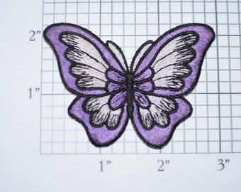 Beautiful Purple Butterfly Iron-On Vtg Embroidered Patch for DIY Craft Idea Clothing Clothes Repair Fashion Accent Cute Decorative Adornment