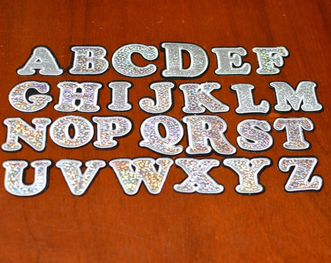 Sparkly Letter Set Iron-On Reflective Patches (Lot of 26) Custom DIY Clothing Monogram Name Alphabet Sport Team Personalized Gift Crafting