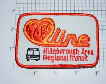 Hart Line, Hillsborough Area Regional Transit Iron-on Vintage Embroidered Clothing Patch Public Transportation Bus Collectible Emblem Logo