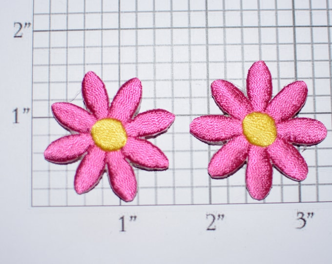 Pair of Flower Iron-on Patch Appliqués (2 piece lot) Pink & Yellow Cute Adorable Perfect for Dolls Cards DIY Fashion Embellishment Crafting