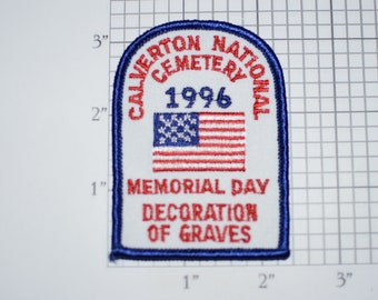 Calverton National Cemetery 1996 Memorial Day Decoration of Graves Sew-on Vintage Embroidered Clothing Patch Veteran Soldier Remembrance