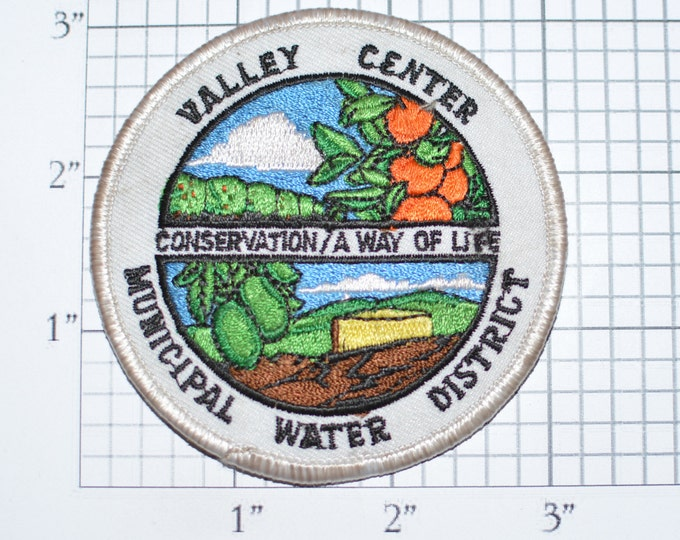 Valley Center Municipal Water District - Conservation a Way of Life - RARE Iron-On Vintage Collectible Patch for Jacket Shirt Vest Hat