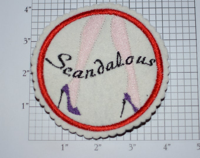 Scandalous 4-Inch Sew-on Embroidered Clothing Patch High Heel Shoes Ladies DIY Fashion Accent for Apparel Purse Bag Fun Woven Emblem