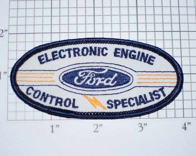Ford Electronic Engine Control Specialist Rare Sew-On Embroidered Clothing Patch for Auto Mechanic Uniform Shirt Jacket Car Service Garage