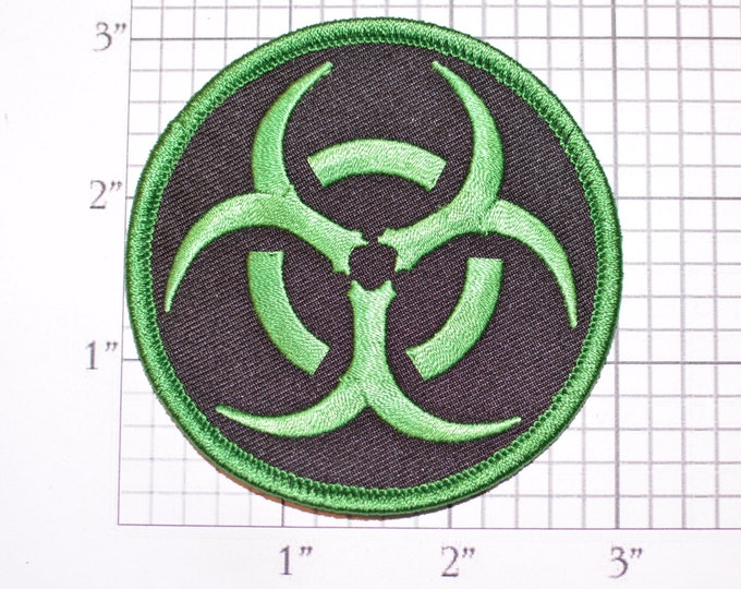 Green on Black Biohazard Symbol Iron-on (or Sew-on) Embroidered Clothing Patch for Biker Jacket Vest MC Shirt Jeans Backpack Hat Gift Gamer