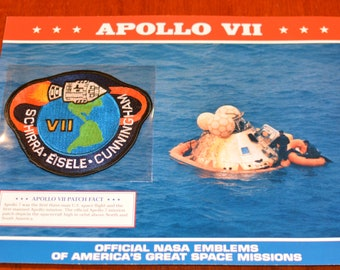 Apollo VII (First Manned Mission) DISCONTINUED Mint Space NASA Mission Patch w/ Statistics and Fact Card Collectible Aerospace Memento