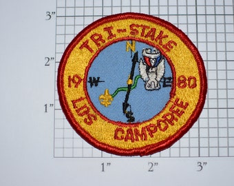 Tri-Stake LDS Camporee 1980 BSA Sew-On Vintage Embroidered Patch Uniform Shirt Boy Scouts Badge Collectible Keepsake Camping Nature