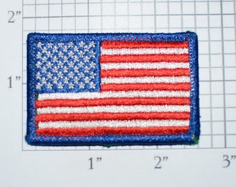 Small American Flag Iron-on Embroidered Clothing Patch United States Blue Border Veteran Gift Idea Military Keepsake Uniform Emblem Insignia