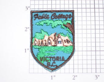 Fable Cottage Victoria B.C. British Columbia Canada Sew-On Vintage Embroidered Patch VERY RARE Travel Trip Souvenir Collectible Keepsake