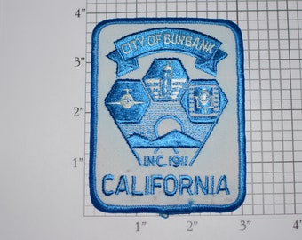 City of Burbank California Inc (Incorporated) 1911 Iron-on Vintage Embroidered Clothing Patch (Dirty/Dingy) Emblem Collectible Woven Badge