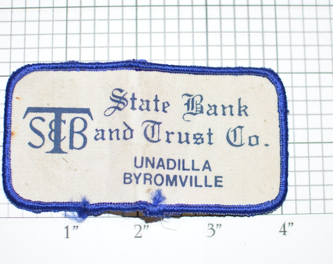 State Bank and Trust Co STB Unadilla Byromville Sew-On Vintage Embroidered Clothing Patch for Employee Uniform Shirt Jacket Emblem Workshirt