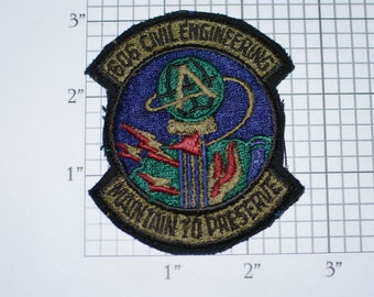 USAF 606 Civil Engineering, Maintain to Preserve Vintage Iron-on Embroidered Patch Military Uniform Subdued Insignia Collectible Memorabilia