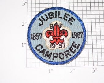 Jubilee Camporee 1957 BSA Sew-On Vintage Embroidered Clothing Patch Uniform Shirt Jacket Boy Scouts Badge Collectible Keepsake Emblem Crest