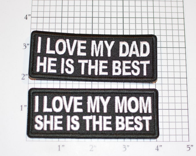 I Love My (Dad / Mom, He / She) Is The Best Iron-On Embroidered Clothing Patch for Jeans Jacket Vest Shirt Hat Son Daughter Clothes Accent
