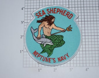 Sea Shepherd Neptune's Navy (Founded 1977 Earth Force Conservation Society) Anti-Whaling RARE Vintage Iron-on Embroidered Collectible Patch